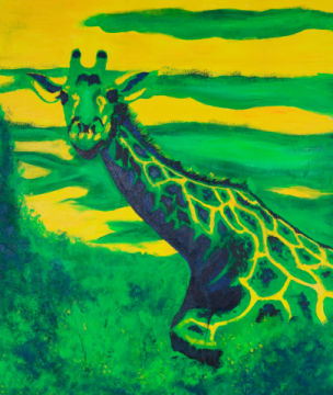 Giraffe of artist Sabine May as framed image