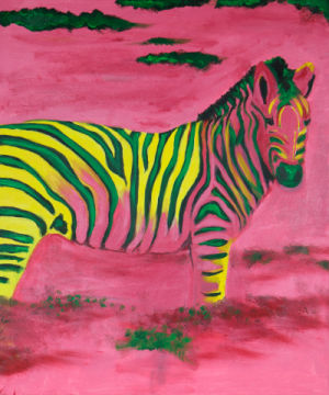 Zebra of artist Sabine May as framed image