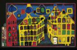 Friedensreich Hundertwasser - Yellow houses - it hurts to wait with love if love is somewehere else