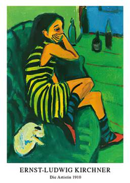 Die Artistin of artist Ernst-Ludwig Kirchner, Mrs, Girl, Wife, Lass, Maid, Tabby, Moggy, Which