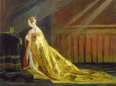Queen Victoria in Her Coronation Robe, 1838 of artist Charles Robert Leslie, Gold, Rays, Light, Great, Altar, Robes, Train, Solemn