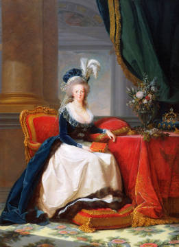 Marie-Antoinette (1755-93) 1788 of artist Élisabeth-Louise Vigée-Lébrun, Oil, Queen, Marie, Female, France, Canvas, Rulers, Velvet