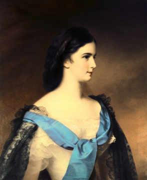 Empress Elizabeth of Bavaria (1837-98) as a young woman of artist Franz Schrotzberg, Oil, Half, Sash, Sisi, Holy, Sissi, Court, Roman