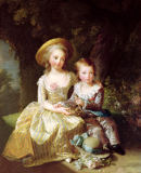 Élisabeth-Louise Vigée-Lébrun - Child portraits of Marie-Therese-Charlotte of France (1778-1851), future Duchess of Angouleme, and Louis-Joseph-Xavier of France