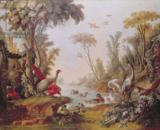 François Boucher - Lake with geese, storks, parrots and herons, from the Salon of Gilles Demarteau (1722-76) c.1750-65