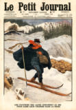French School - Alpine postmen using ski during their rounds in the snow, illustration from 'Le Petit Journal', supplement illustre, 15th Januar