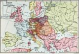 English School - Map of Europe after the Peace of Luneville, 1801, from 'A Short History of the English People' by J. R. Green, published 1893
