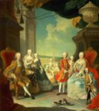 Martin II Mytens - Maria Theresa and her Husband at the staircase leading from the Great Hall of Schloss Schonbrunn into the large courtyard, with