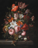 Rachel Ruysch - Still life of roses, lilies, tulips and other flowers in a glass vase with a Brindled Beauty on a stone ledge, 1704