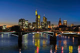 F. Wagner (F1 Online) - View over Main river to the skyline of Frankfurt at dusk, Hesse, Germany, horizontal format