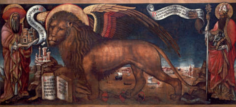 The Lion of St.Mark of artist Donato Veneziano as framed image