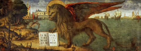 The Lion of St.Mark of artist Vittore Carpaccio as framed image