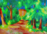 August Macke - Red house in a parc