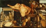 Pieter Aertsen - Vanitas stilllife, in the background Christ with Mary and Martha