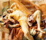 John Singer Sargent - Reclining Nude Male Model