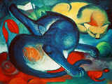 Franz Marc - Two cats, blue and yellow